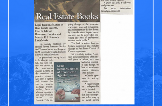 Legal Responsibilities of Real Estate Agents book review in REM Magazine