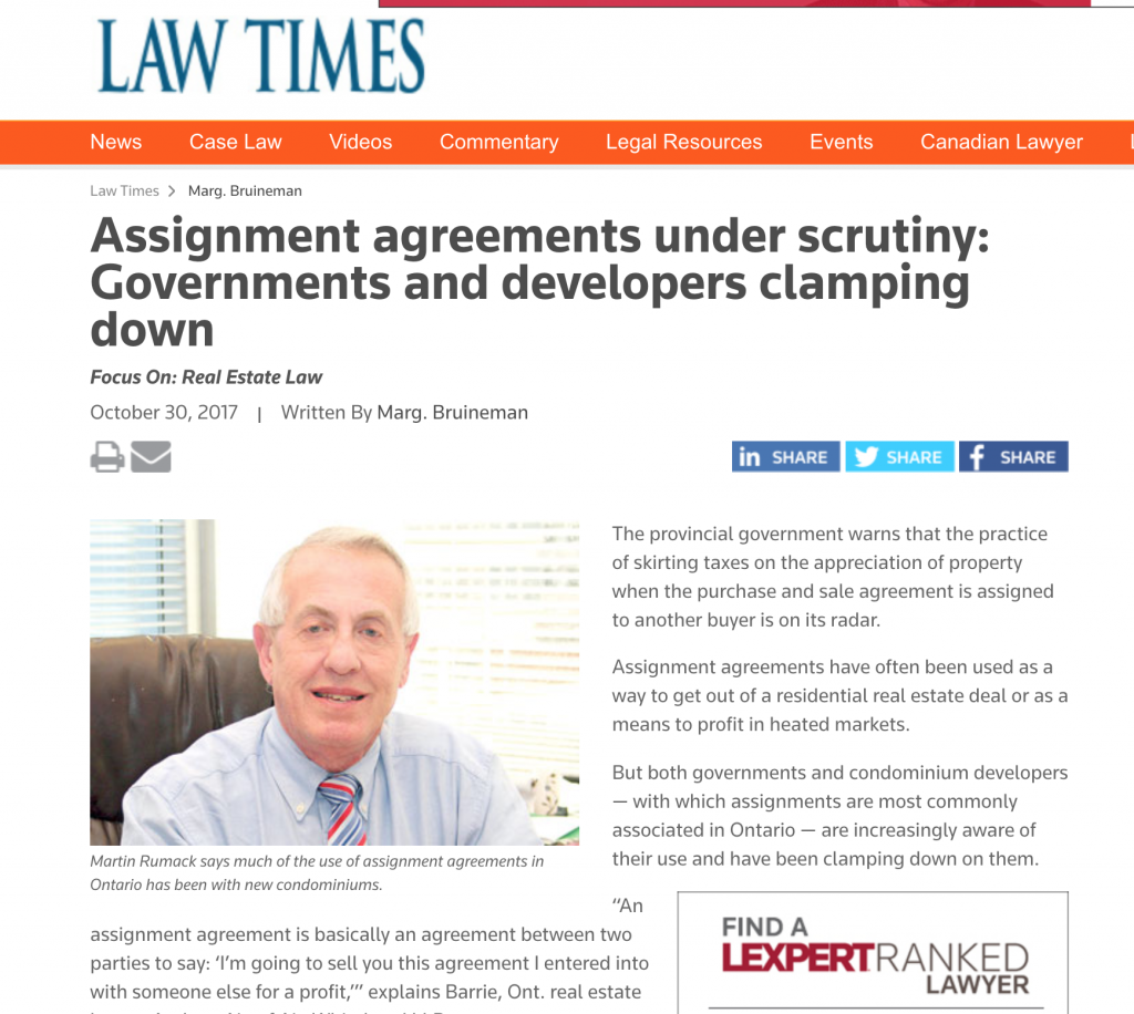 Assignment Agreement under Scrutiny, article from Law Times - Law ...